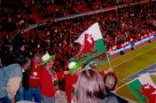 At football game in Cardiff