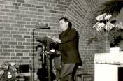 Giving a speech during martial law in Poland, Wroclaw